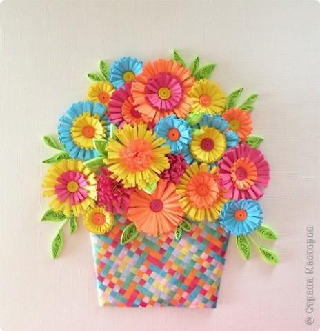 Квиллинг: Корзина с цветами фото 1