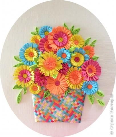 Квиллинг: Корзина с цветами фото 2