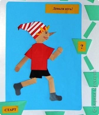 "Аппликация, Бумагопластика, Оригами: Настенная игра ""Буратино в Стране пластиковых карт"" фото 2"
