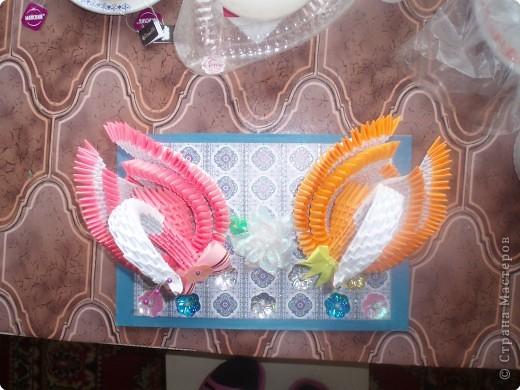 Бантик на рыженьком лебеде и цветочек между лебедями выполнены с помощью МК, выложенных в Стране фото 2