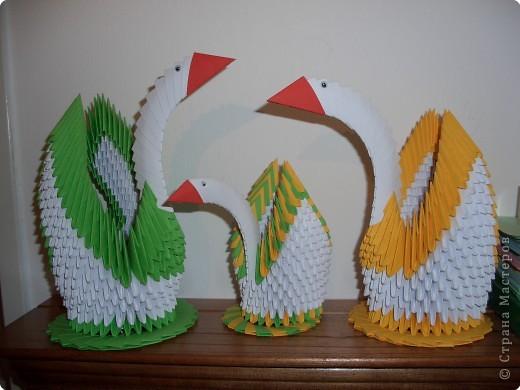 Оригами модульное: семья лебедей