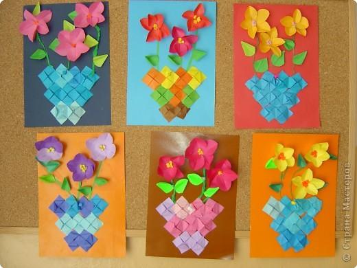 Аппликация, Оригами: Букеты мамам фото 1
