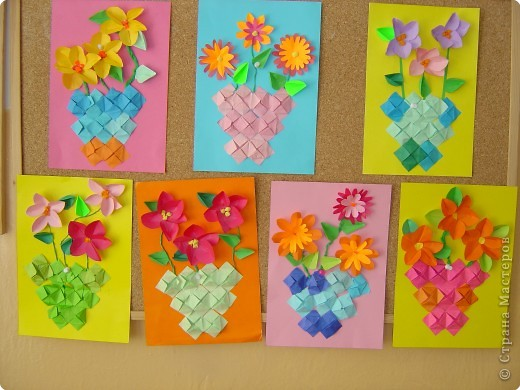 Аппликация, Оригами: Букеты мамам фото 2