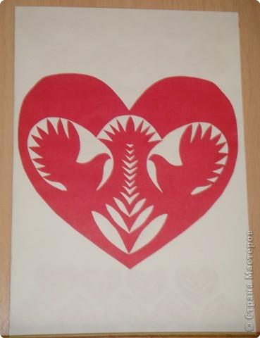 Аппликация, Вытынанка: Открытка ко дню Святого Валентина фото 1