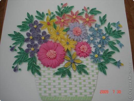 Квиллинг: Цветы в корзинке фото 1
