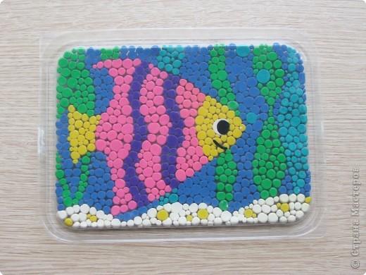 Аппликация из пластилина (+ обратная), Мозаика: Рыбка