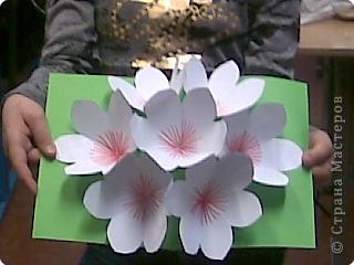 открытка -объемные цветы, Страна Мастеров