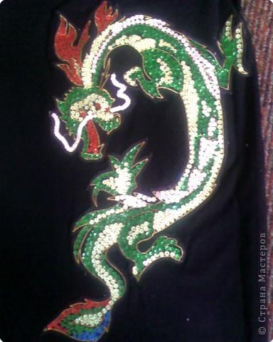 Вышивка: Дракон из пайеток фото 1