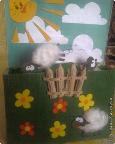 """Аппликация: Открытка """"Прыгающие овечки"""" фото 2"""