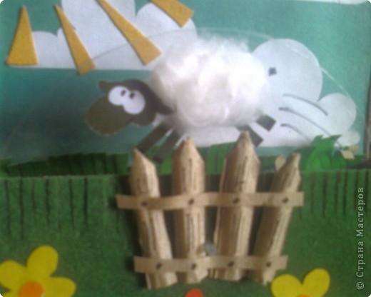 """Аппликация: Открытка """"Прыгающие овечки"""" фото 3"""