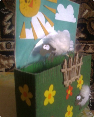 """Аппликация: Открытка """"Прыгающие овечки"""" фото 4"""