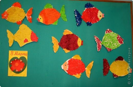 Аппликация обрывная: Рыбки фото 2