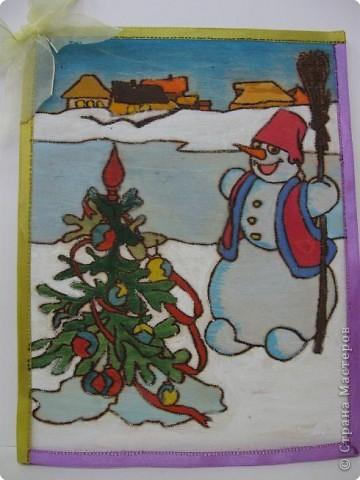 Выжигание по дереву, Роспись: Снеговик-почтовик.