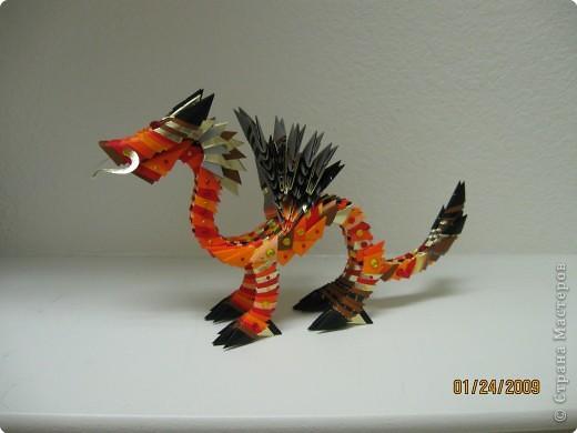 Простой дракон с крыльями из.  Драконы из треугольных модулей Размер: 390=520.