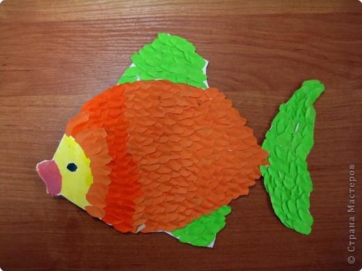 Аппликация обрывная: Рыбки фото 1