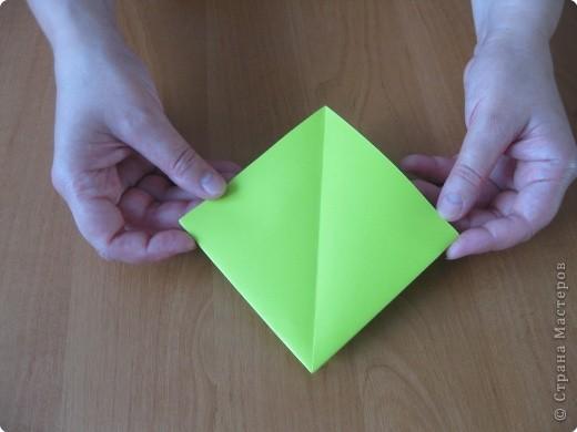 Я впервые делаю МК. Не знаю ,будет ли все понятно. Итак, берем квадратный лист бумаги и намечаем диагональ. фото 6