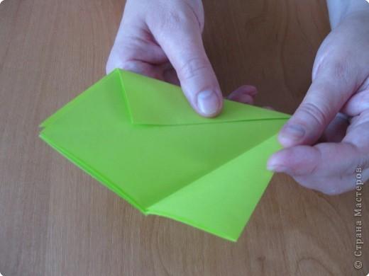Я впервые делаю МК. Не знаю ,будет ли все понятно. Итак, берем квадратный лист бумаги и намечаем диагональ. фото 10