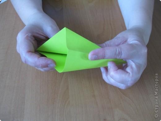 Я впервые делаю МК. Не знаю ,будет ли все понятно. Итак, берем квадратный лист бумаги и намечаем диагональ. фото 12