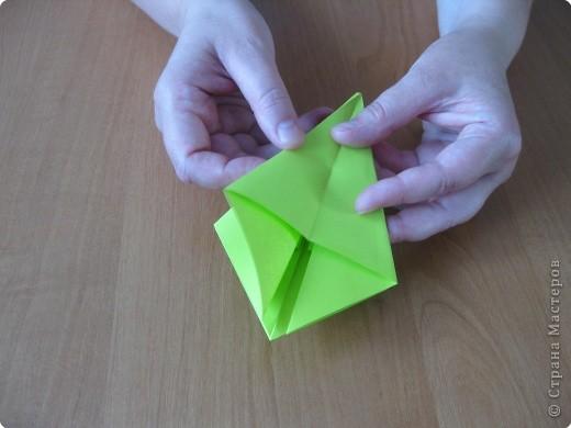 Я впервые делаю МК. Не знаю ,будет ли все понятно. Итак, берем квадратный лист бумаги и намечаем диагональ. фото 14