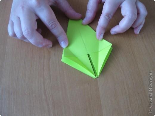 Я впервые делаю МК. Не знаю ,будет ли все понятно. Итак, берем квадратный лист бумаги и намечаем диагональ. фото 17