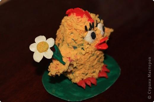 Вот такого цыпленка сдела дочка с моей помощью. Помогала ей делать крылья, их трудно торцевать, тоненькие.  фото 2