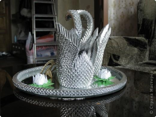 Оригами модульное: Пара лебедей в подарок родителям фото 3