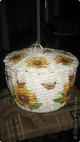 Плетение: корзина из газет фото 1