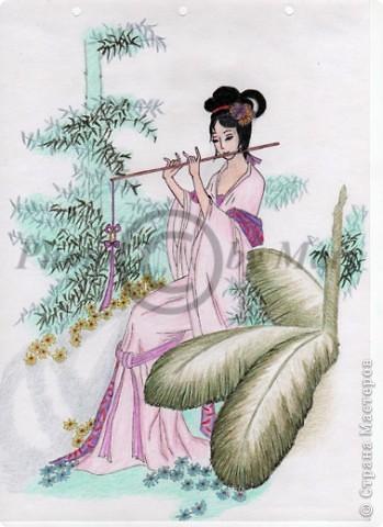 Картина панно рисунок Рисунок Японка Бумага