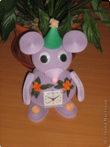 Квиллинг: мышка норушка (часы) фото 1