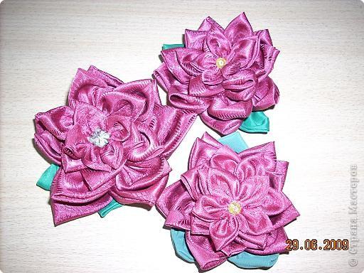 Цветы из кругов ткани.  фото 1