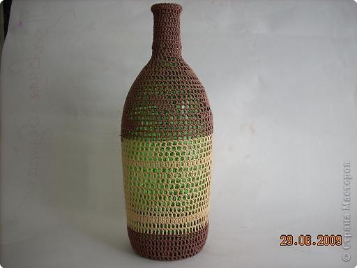 Понравилась форма бутылки, решила ее обвязать фото 2