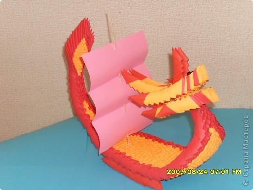 Вот и моя лодка - дракон. Модули А4/16. Высота 25см, длина 30см. фото 2