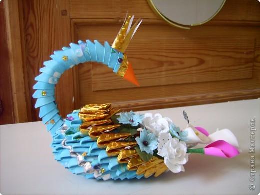 Оригами модульное: очередной лебедь в дружную компанию фото 1