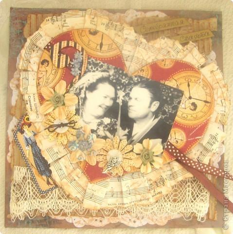 """Страничка в будущий альбом о моих предках. Сердце открывается и там спрятаны еще фото. На главной фотографии - бабушка и дедушка, """"Серебряная свадьба"""". Другие фото странички в моем блоге: www.didelis.blogspot.com фото 1"""