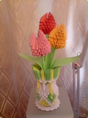 Оригами модульное: Вазочка и цветочки уже в детском саду моей внучки Юленьки