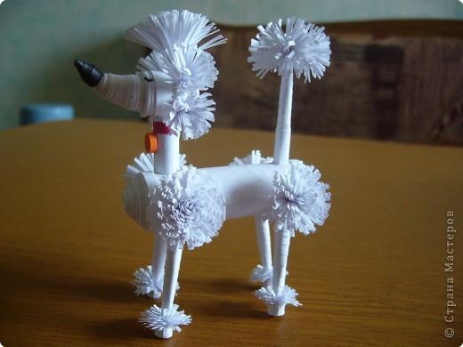 Квиллинг, Оригами модульное: Дама с собачкой фото 3
