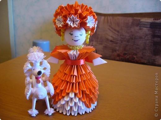 Квиллинг, Оригами модульное: Дама с собачкой фото 1