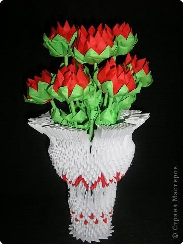 Оригами модульное: Ваза с георгинами фото 1