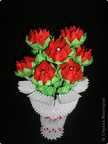 Оригами модульное: Ваза с георгинами фото 2