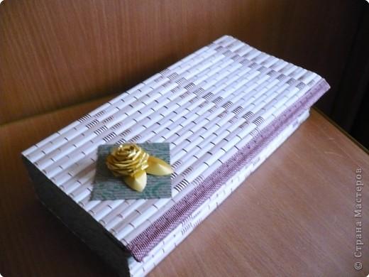 шкатулка из бамбуковой салфетки и гофрированного картона фото 1