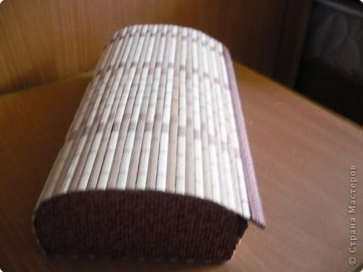 шкатулка из бамбуковой салфетки и гофрированного картона фото 2