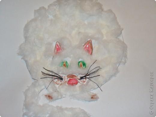 Аппликация: Котик из ваты