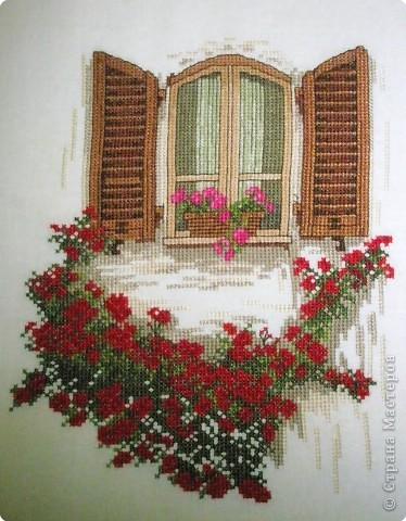 Вышивка крестом: Окно и дворик фото 1