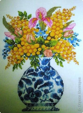 Вышивка крестом: Цветы фото 2