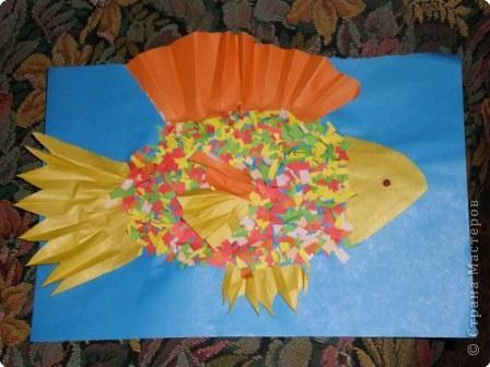 Аппликация, Аппликация обрывная: Золотая рыбка