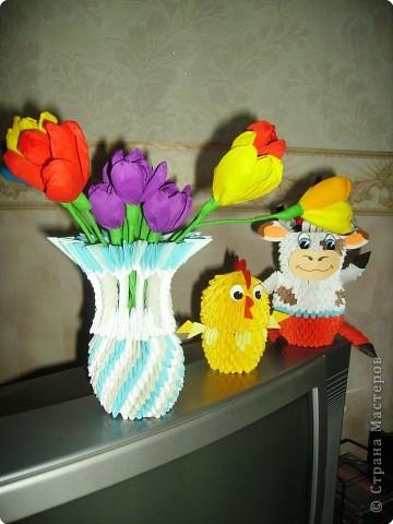 Оригами модульное: Мои цветы и вазы фото 4