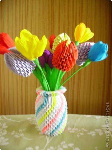Оригами модульное: Мои цветы и вазы фото 3
