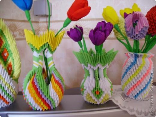 Оригами модульное: Мои цветы и вазы фото 1