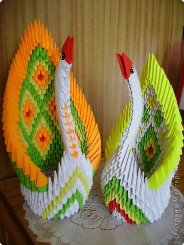 Оригами модульное: Ах эти лебеди и павы!!! фото 2