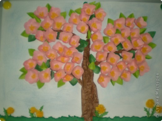 Аппликация: И у нас в саду яблоня в цвету!